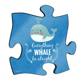 "Everything whale be alright! The short but so sweet phrase along with a cute cartoon whale stand out on this unique 12"" x 12"" wooden puzzle piece wall art."