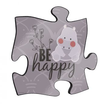 "Be happy! This short but so sweet phrase along with a cute cartoon hippo stand out on this unique 12"" x 12"" wooden puzzle piece wall art."