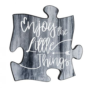 "Enjoy the little things. This unique 12"" x 12"" wooden puzzle piece wall art is the perfect way to remind yourself to appreciate the small blessings that come with each day."