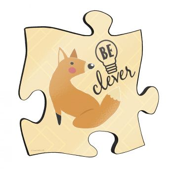 "Be clever! This short but so sweet phrase along with a cute cartoon fox stand out on this unique 12"" x 12"" wooden puzzle piece wall art."