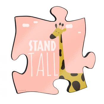 "Stand tall! The short but so sweet phrase along with a cute cartoon giraffe stand out on this unique 12"" x 12"" wooden puzzle piece wall art."