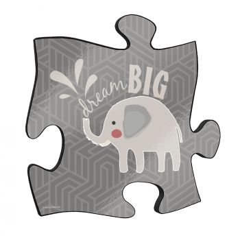 "Dream big! The short but so sweet phrase along with a cute cartoon elephant stand out on this unique 12"" x 12"" wooden puzzle piece wall art"