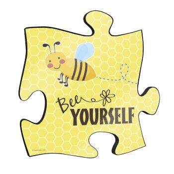 "Bee yourself! The short but so sweet phrase along with a cute cartoon bee stand out on this unique 12"" x 12"" wooden puzzle piece wall art."