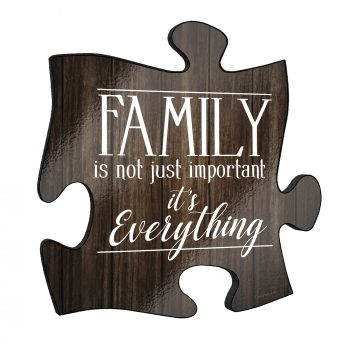 "This rustic style 12"" x 12""  puzzle piece wall décor has a realistic printed wooden design and the quote ""Family is not just important – it is everything."""