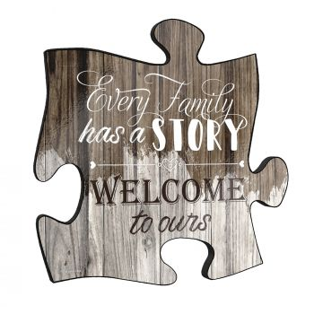 "Every family has a story. Welcome to ours! This unique 12"" x 12"" wooden puzzle piece wall art is perfect for wherever you call home."