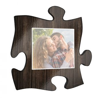 "Show off your favorite photos with unique wall décor! This rustic style 12"" x 12  puzzle piece wall art has a realistic printed wooden design and an area to personalize with your favorite photo."