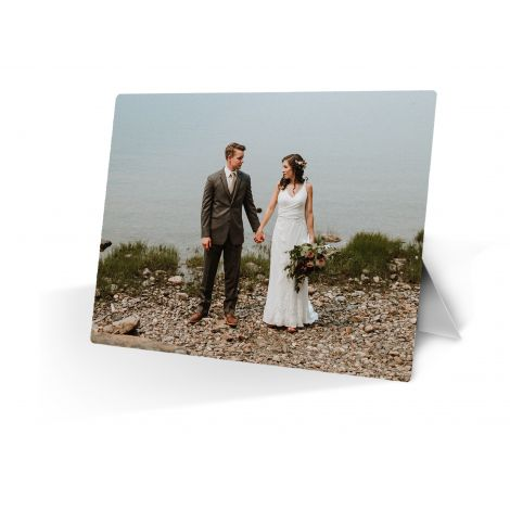 Personalized metal print with attachable easel stand. Upload your own photo today!