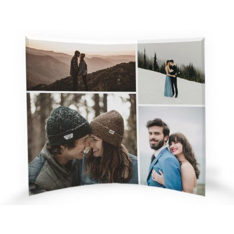 "Our 12"" x 10"" curved glass photo prints feature your favorite image upload fused into a free-standing, light-catching tabletop work of art."
