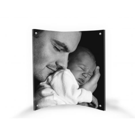 """LightPix Everlasting Photo with Matching 6"""" x 8"""" Curved Acrylic Magnetic Frame – Unique Photo Print That Lasts a Lifetime with a Free-standing, Light-Catching Frame."""