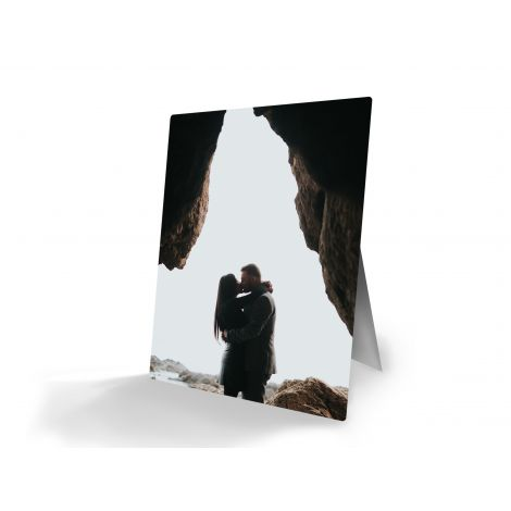 Personalized metal print with attachable easel stand. Upload your photo today!