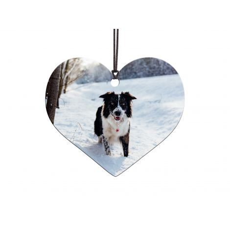 Upload a photo of the person or pet you love in your life for a customized heart-shaped hanging acrylic decoration.