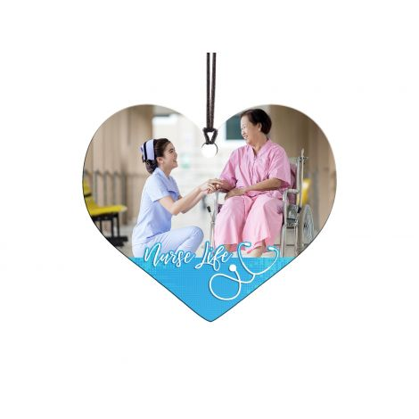 Celebrate your favorite nurse with a customized Nurse Life heart-shaped hanging acrylic decoration.