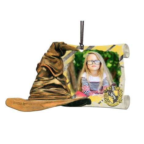 Harry Potter Hufflepuff Sorting Hat hanging acrylic decoration featuring a personalized image.