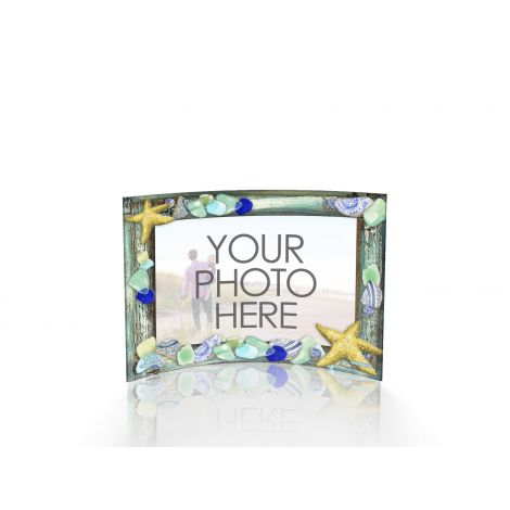 Marjolein Basin Starfish and Sea Glass curved acrylic print featuring your personalized image.