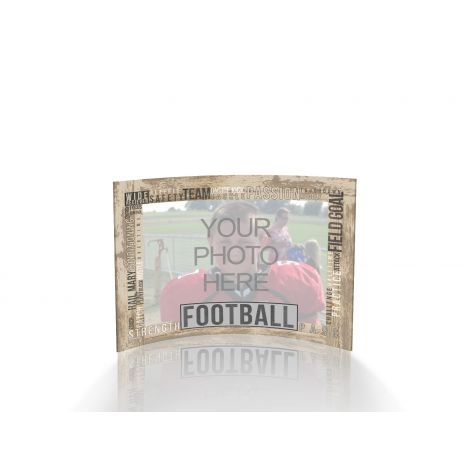 Sports curved acrylic frame featuring football words. Upload your own photo to personalize.