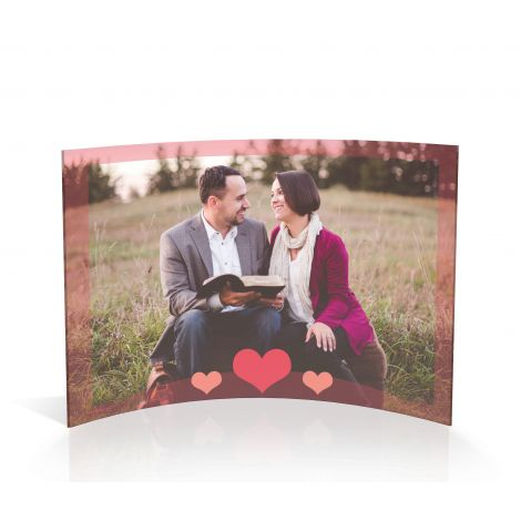 Valentine's Day three hearts curved acrylic print featuring your personalized photo.