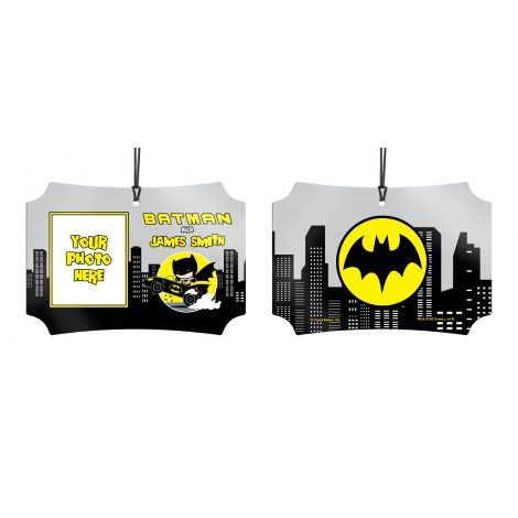 Show off to the world that you're Batman with this personalized hanging metal decoration by adding name and photo.
