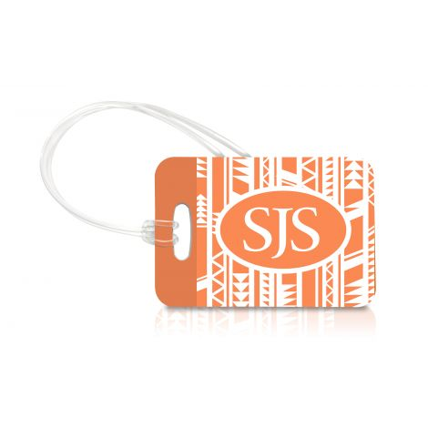 Set sail with a bright and lively monogrammed luggage tag. This reinforced, durable, personalized tag features a triangle tribal pattern in bright white and sunny tangerine.