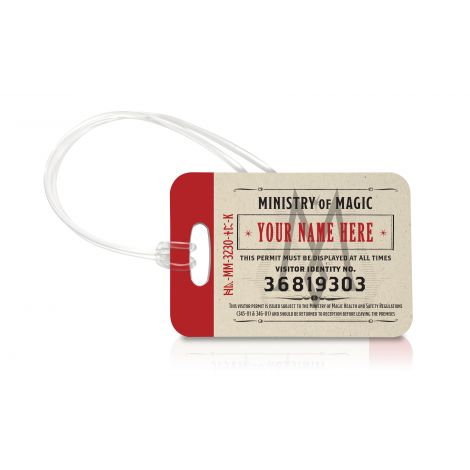 Don't forget your visitor's tag when you head to the Ministry of Magic. What are you doing there? Be careful. Travel in style with our officially licensed, extraordinarily durable luggage tags.