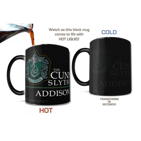 Pledge your allegiance to Slytherin™ with this personalized Morphing Mugs® heat-sensitive, color-changing mug featuring an image of the robe worn by the students of Hogwarts