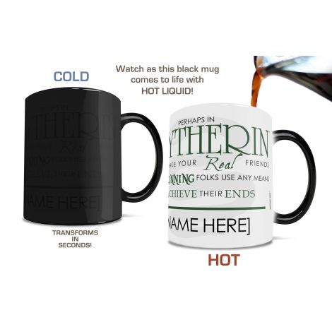 Show your Slytherin house pride with this unique Morphing Mug™ that features the magical sorting hat and part of the sorting ceremony song.