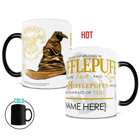 Show your Hufflepuff house pride with this unique Morphing Mug™ that features the magical sorting hat and part of the sorting ceremony song.