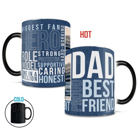 Father's Day personalized Morphing Mugs heat-sensitive drinkware featuring Dad Words. Customize with your own photo!