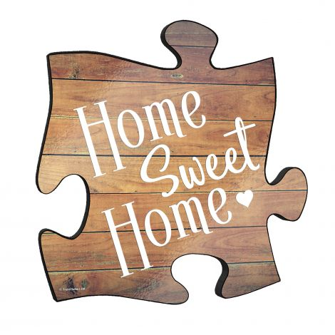 "Home Sweet Home! This unique 12"" x 12"" wooden puzzle piece wall art is perfect for wherever you call home."