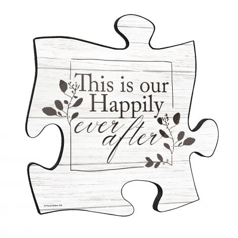 Family Collection (Happily Ever After White Wood) 12x12 Puzzle Piece Wall Art