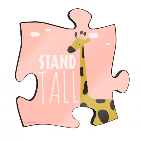 """Stand tall! The short but so sweet phrase along with a cute cartoon giraffe stand out on this unique 12"""" x 12"""" wooden puzzle piece wall art."""