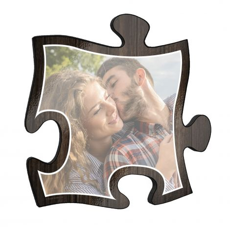 "Show off your favorite photos with unique wall décor! This rustic style 12"" x 12  puzzle piece wall art has a realistic printed wooden design and large area to personalize with your favorite photo."