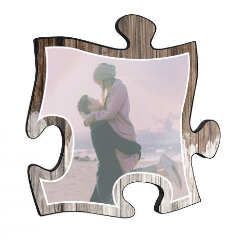 "Your life is beautiful and this unique 12"" x 12"" puzzle piece personalized wall art is a wonderful way to show your favorite photo of a cherished memory!"
