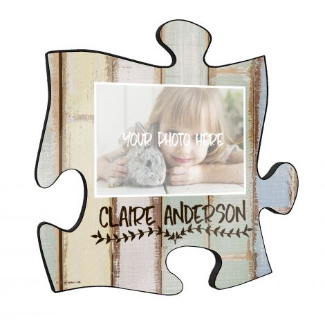 "This 12"" x 12"" puzzle piece wall décor is perfect for gifting, baby showers and more! Personalize the wall art with a photo and name. The rustic distressed pastel shiplap design is printed onto the large puzzle piece and is simplistic enough to adhere to"