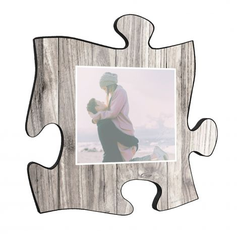 "Your life is beautiful, and this unique personalized wall art is a wonderful way to show your favorite photo of a cherished memory! This 12"" x 12"" printed white wood puzzle piece wall art has an area to upload your favorite picture."