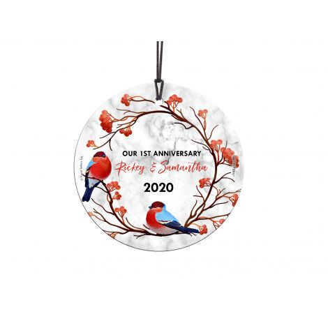 You lovebirds have had an amazing first year together. Now you can show off your anniversary with this personalized hanging glass decoration featuring a pair of birds. Personalize with your name and year to remember the occasion forever.