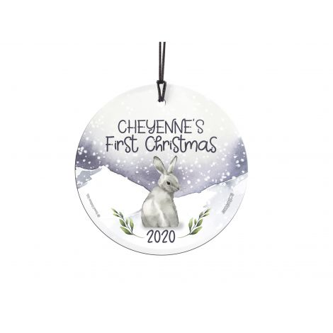 Remember the first Christmas of the little one in your life with a personalized hanging glass ornament featuring an adorable winter bunny. Add the name and year to make a keepsake that will last forever. Comes with hanging string for easy display.