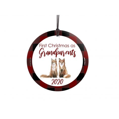 Celebrate your first Christmas as grandparents with this adorable ornament. Featuring a pair of foxes and a plaid background, this will look great wherever you hang it to always remember when the first little one to spoil came into your life. Add the year