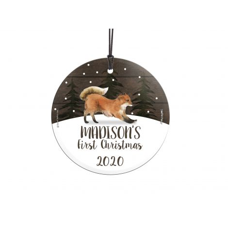 Remember the first Christmas of the little one in your life with a personalized hanging glass ornament featuring an adorable fox. Add the name and year to make a keepsake that will last forever. Comes with hanging string for easy display.