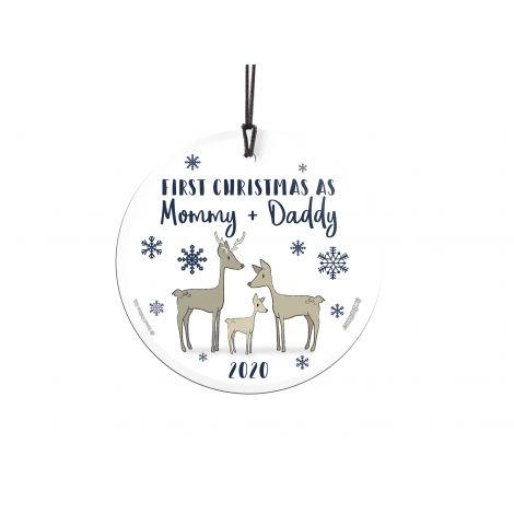 Celebrate your first Christmas as mom and dad with the little fawn in your life. Hanging this wintery ornament anywhere in the house to show off your newest bundle of joy. Personalize with the year. Comes with hanging string for easy display.