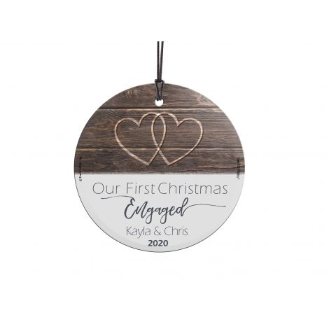 Celebrate your First Christmas Engaged with this StarFire Prints Hanging Glass decoration. Customize with your name and first year together.