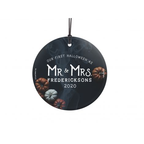 Celebrate your first Halloween as Mr. and Mrs. with our original design fused permanently into a StarFire Prints™ Hanging Glass. It comes with hanging string for easy display.