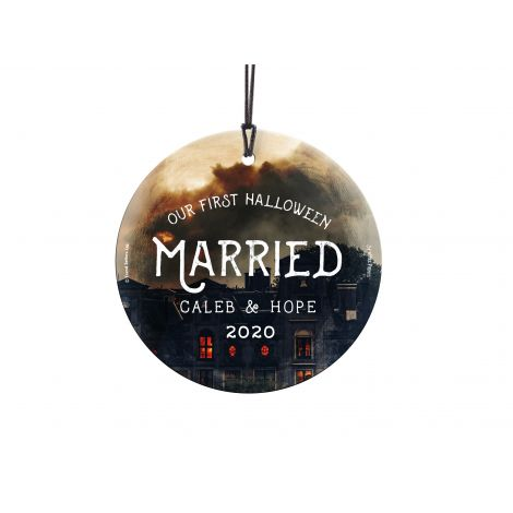 Celebrate your first Halloween married with our original design fused permanently into a StarFire Prints™ Hanging Glass. It comes with hanging string for easy display.