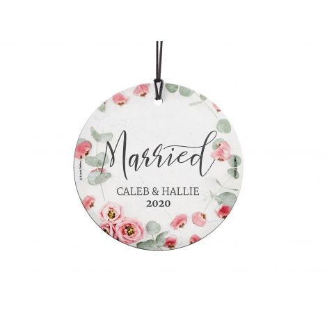 Congratulations! You're celebrating your marriage! Get your names along with the year featured with a pink floral image that is fused directly and permanently into the glass for a light-catching, long lasting keepsake. Comes with hanging string for easy d