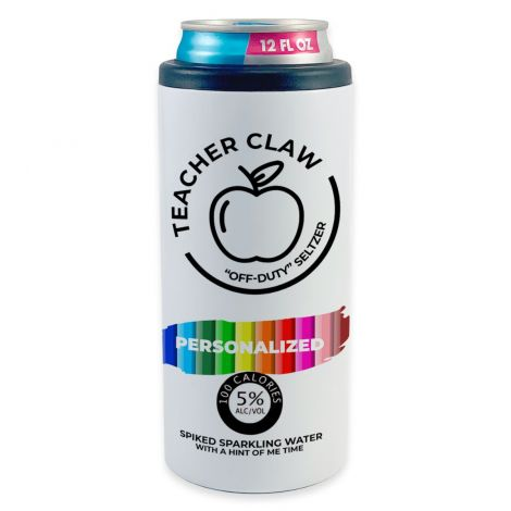 """Featuring a design based off a White Claw can with the phrase """"Teacher Claw"""", an area to personalize with your name and ingredients that make up an off-duty educator on the nutrition label, this stainless-steel skinny can cooler is the perfect accessory f"""