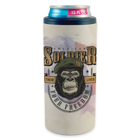 """Featuring a design of military gorilla and the words """"American Soldier – Their Lives, Your Freedom"""" against an American flag watercolor background, this stainless-steel skinny can cooler is the perfect accessory."""