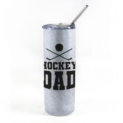 """20 oz tumbler with straw featuring the phrase """"Hockey Dad"""" along with personalized name and number."""