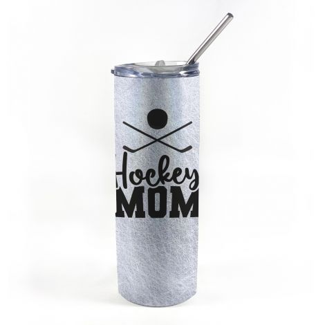 """20 oz tumbler with straw featuring the phrase """"Hockey Mom"""" along with personalized name and number."""