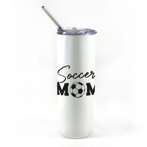 """20 oz tumbler with straw featuring the phrase """"Soccer Mom"""" along with personalized name and number."""