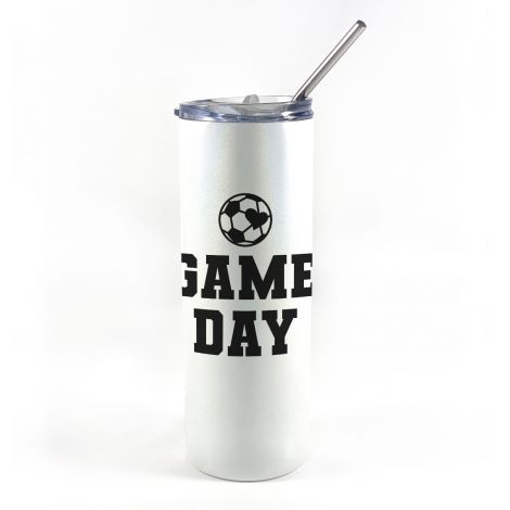 """20 oz tumbler with straw featuring the phrase """"Game Day"""" and a soccer ball in the shape of a heart along with personalized name and number."""
