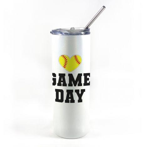 """20 oz tumbler with straw featuring the phrase """"Game Day"""" and a softball in the shape of a heart along with personalized name and number."""